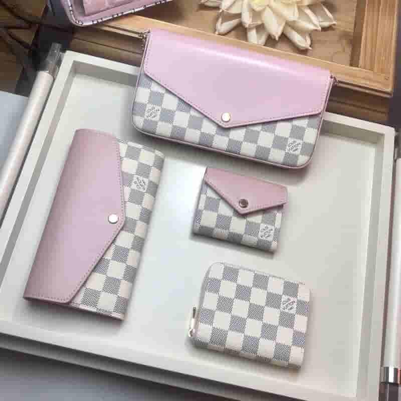 LV N60232 粉色拼白格Sarah长款钱夹