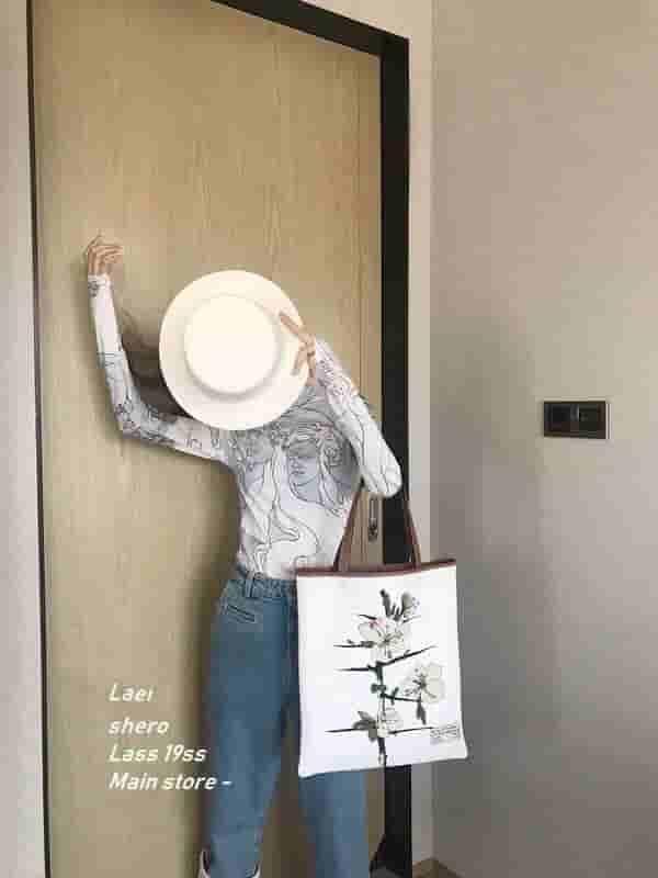 Loewe Vertical tote blackthorn bag花布包
