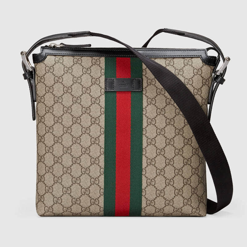 Gucci 饰条纹织带高级人造帆布邮差包 387111