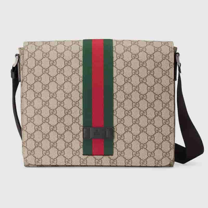 Gucci 475432 饰条纹织带高级人造帆布邮差包