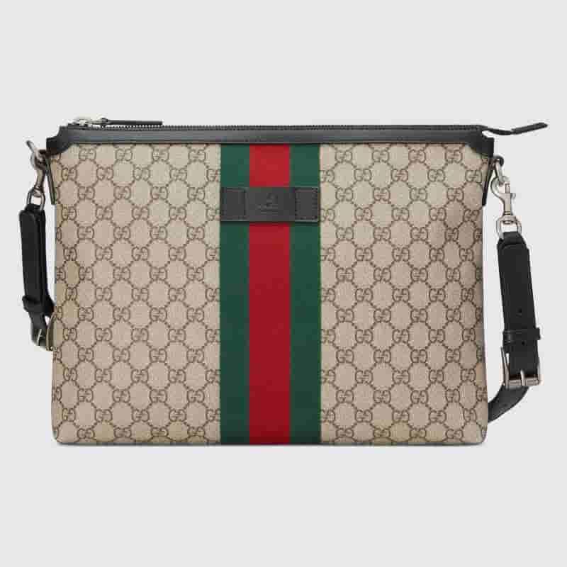Gucci GG Supreme 红绿织带邮差包 523335