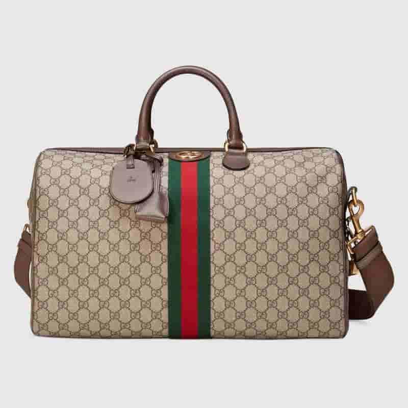 Gucci GG Supreme Keepall 红绿织带装饰旅行包 547953