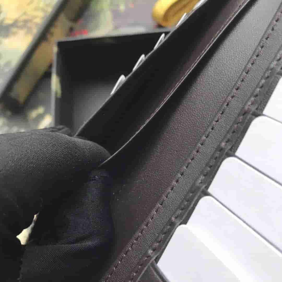 Gucci 408836 饰织带高级人造帆布长款钱夹钱包