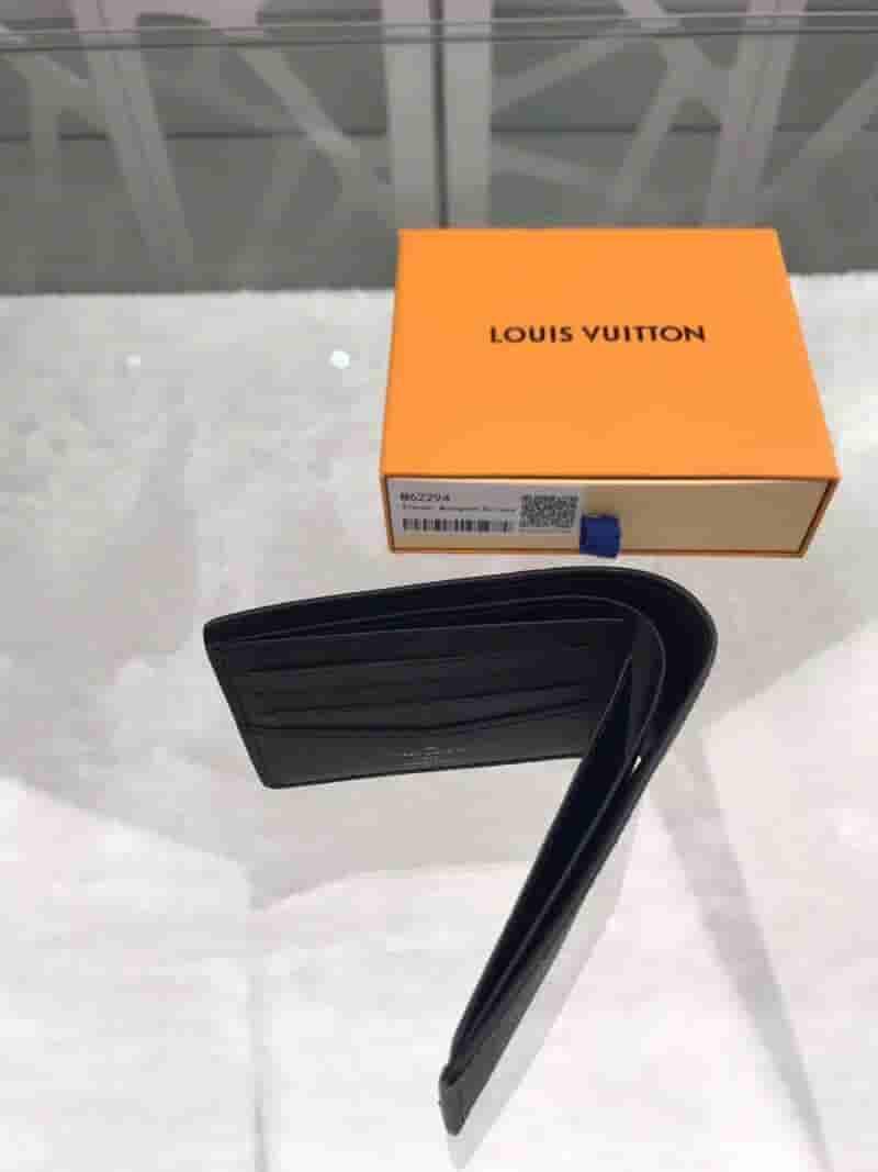LV M62294 黑花Slender短款对折钱夹钱包