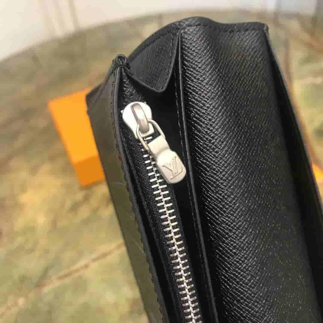LV M61697 Brazza黑花长款对折钱夹钱包
