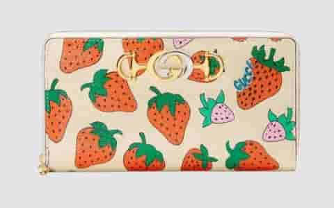 Gucci草莓印花全拉链钱包 570661 08PAX 9036