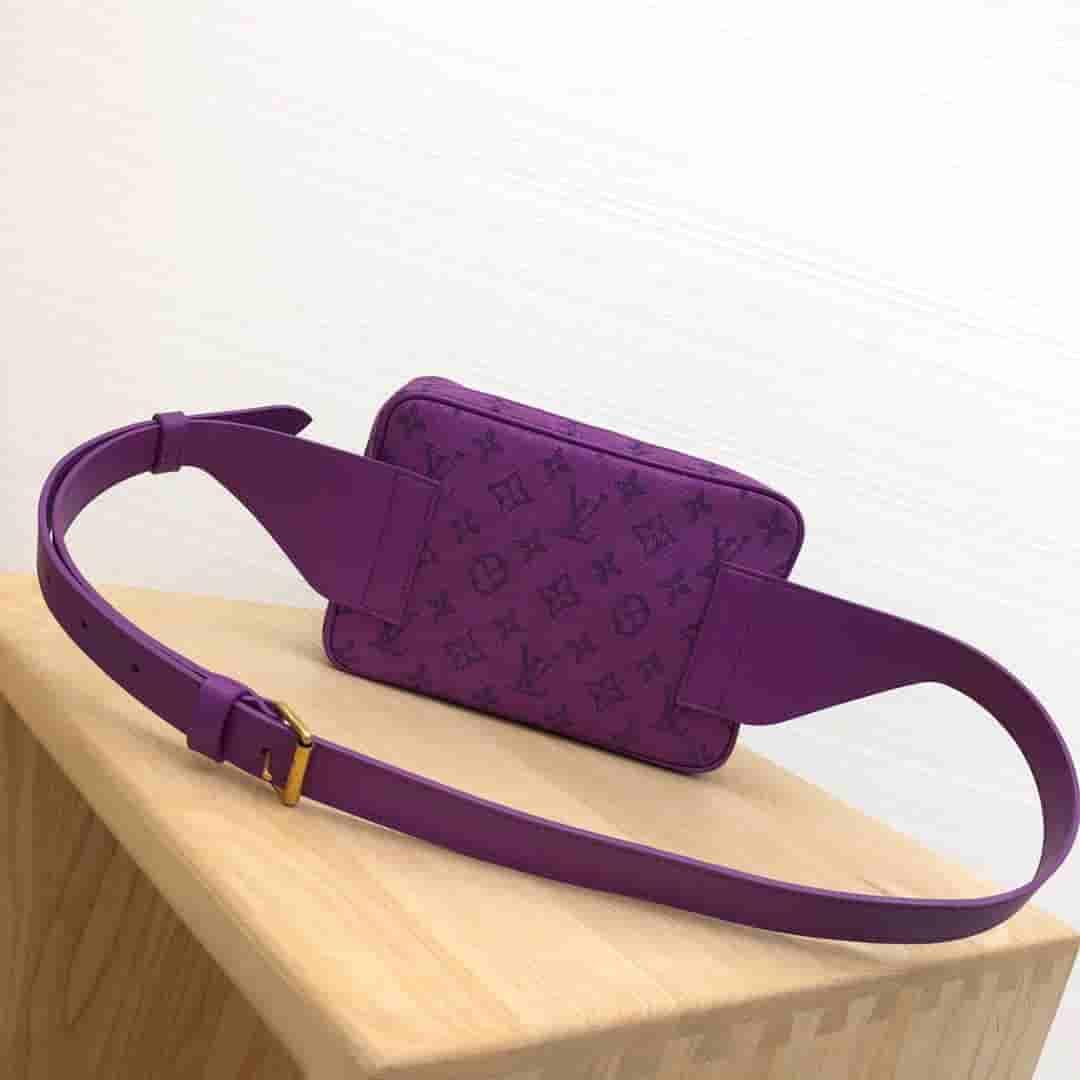 LV 2019新款紫色牛仔布Outdoor腰包胸包 M44624