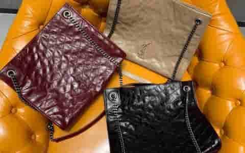 YSL NIKI SHOPPING BAG 皱褶复古皮革购物袋 577999