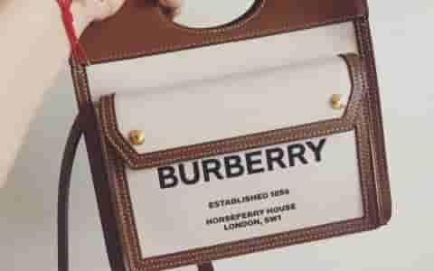 Burberry/巴宝莉 迷你双色帆布拼皮革口袋包 80146151