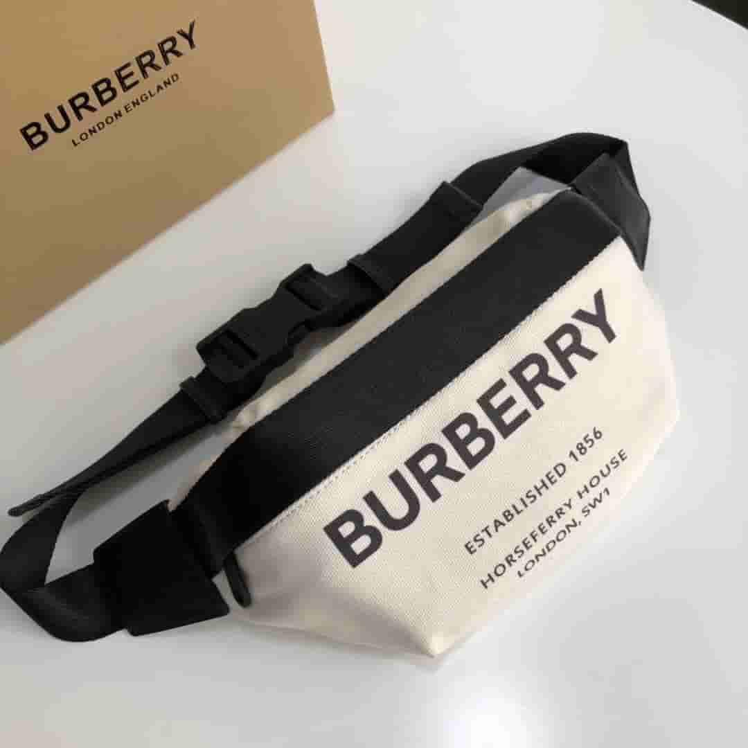 Burberry/巴宝莉 中号 Horseferry 印花棉质帆布腰包 80146411
