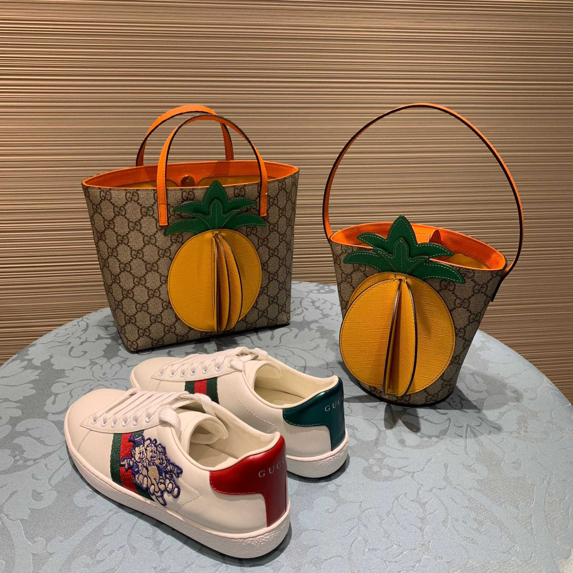 Gucci Children's GG bucket bag with pineapple 580850