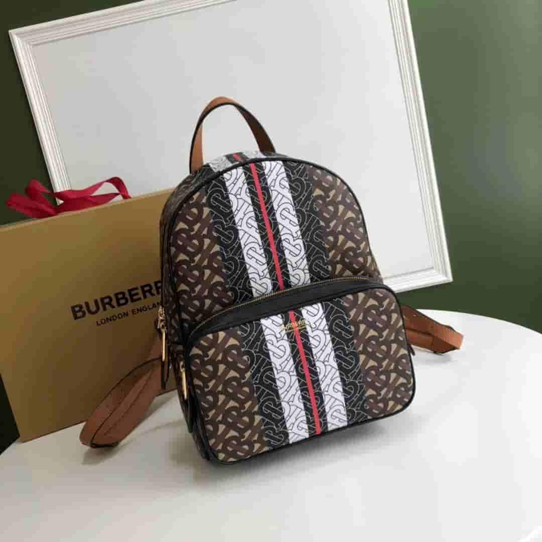 Burberry/巴宝莉 专属标识条纹印花环保帆布双肩包 80193461
