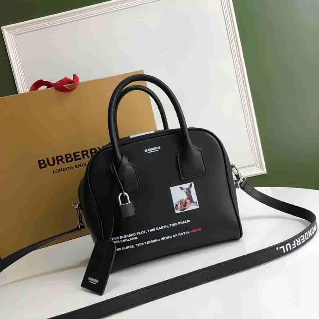 Burberry/巴宝莉 Cube小号蒙太奇印花皮革立方包 80128361