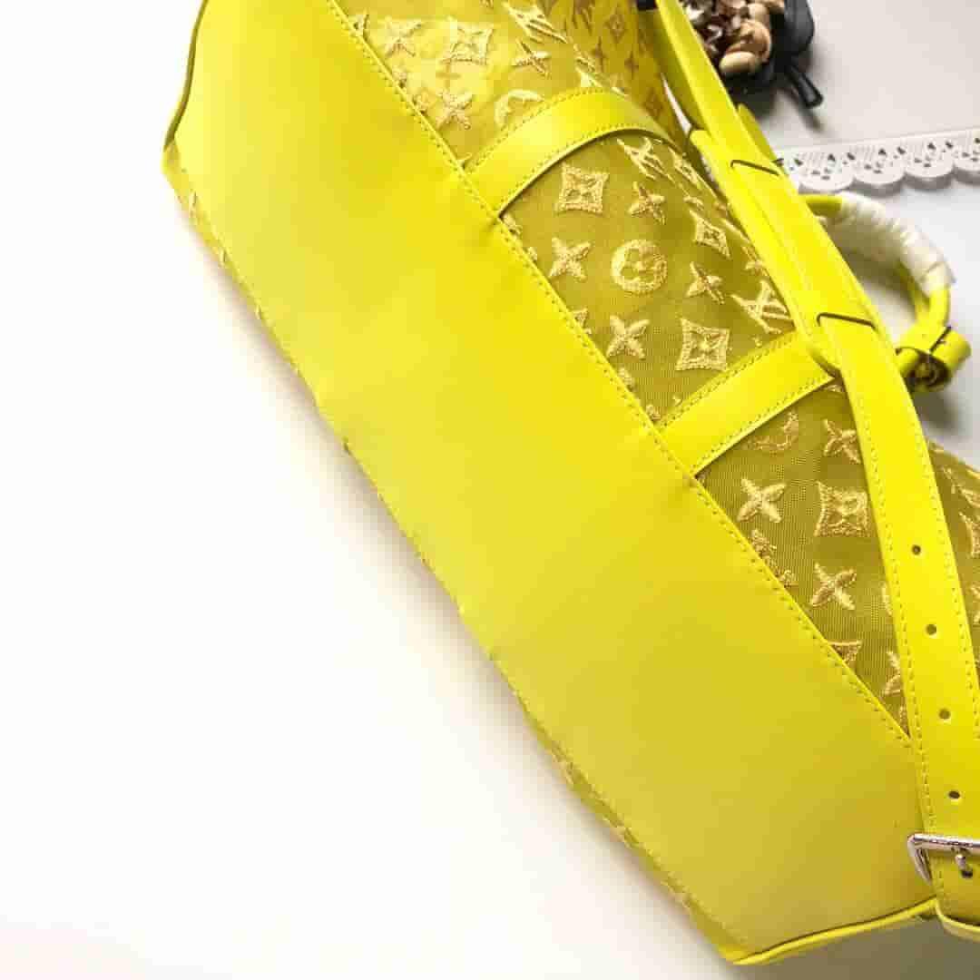 LV 柠檬黄 透明网纱蕾丝Keepall 50 旅行袋 M55380