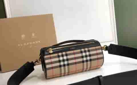 Burberry/巴宝莉 Vintage格纹拼皮革圆柱形迷你包 80150751