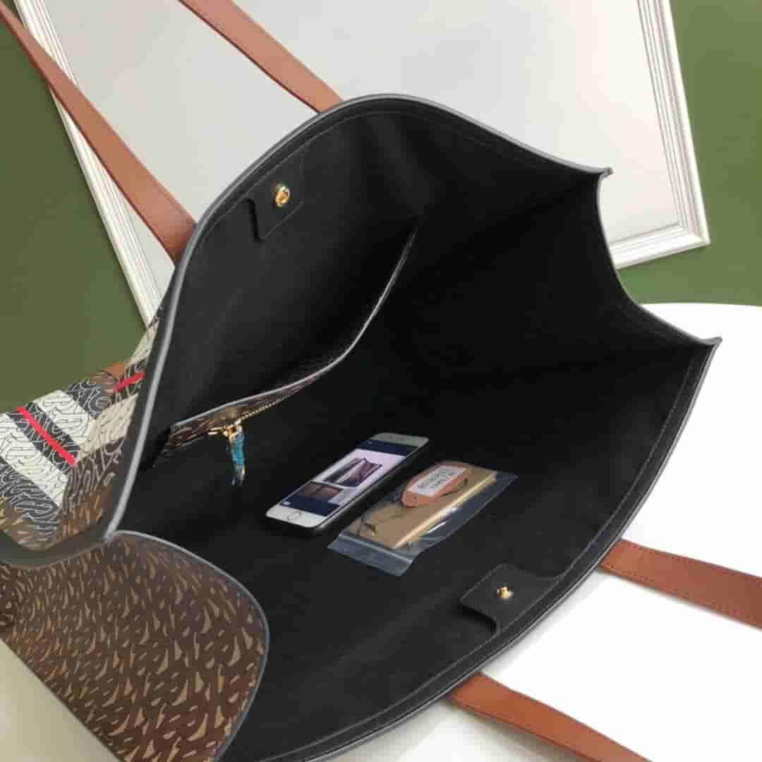 Burberry/巴宝莉 专属标识条纹环保帆布托特包 80183611
