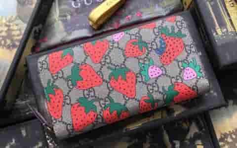 Gucci/古驰 饰Gucci 草莓印花 GG 钱包 573865