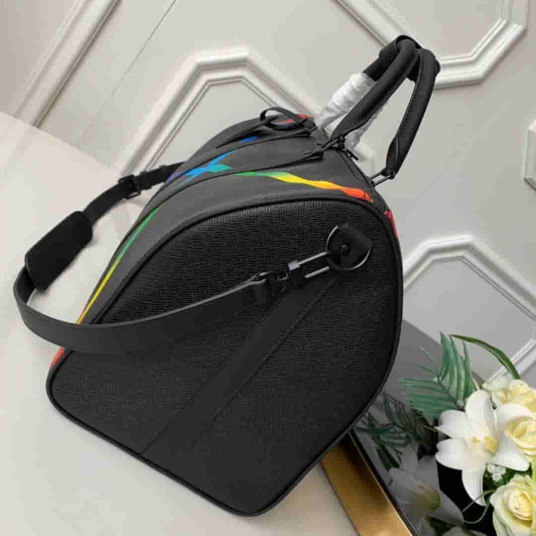 LV 2019新款KEEPALL 50 彩虹色X图案旅行袋 M30345