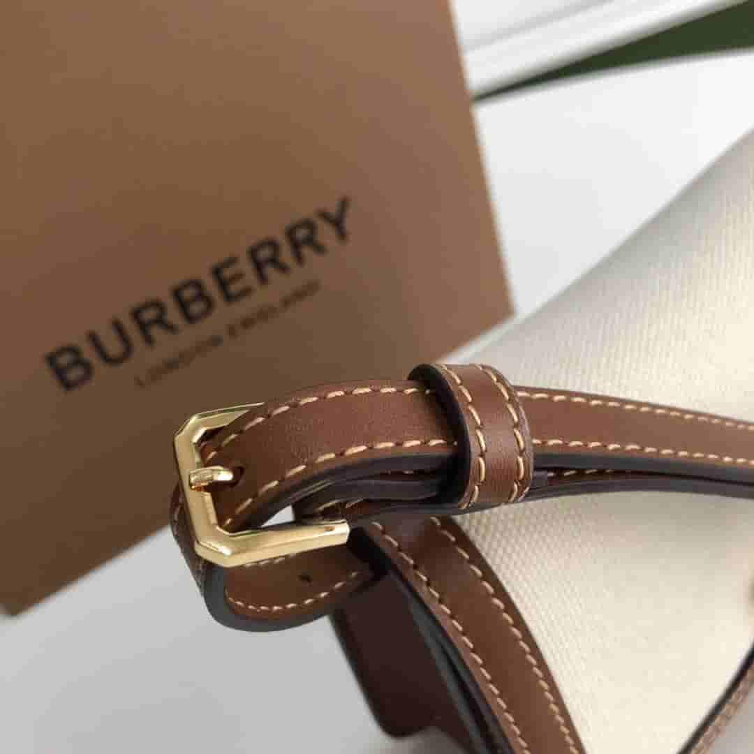 Burberry/巴宝莉 TB 迷你专属标识双色帆布拼皮革锁扣包 80171101