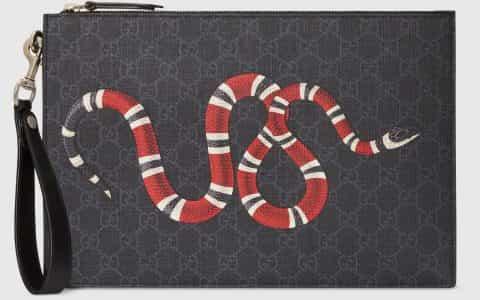 Gucci/古驰 GG 珊瑚蛇印花手拿包 473904 GZN1N 1058