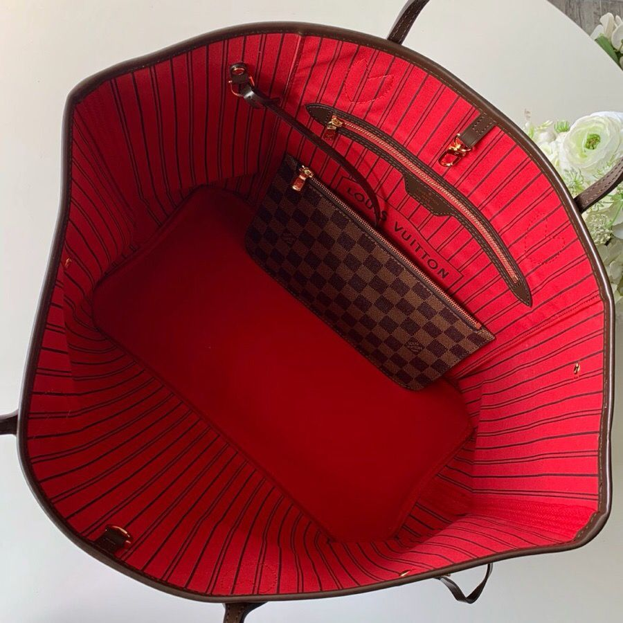 LV NEVERFULL 棋盘格大号手袋购物袋 N41357 红色内里