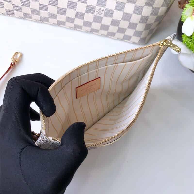 LV NEVERFULL 棋盘白格大号手袋购物袋 N41360 米黄内里