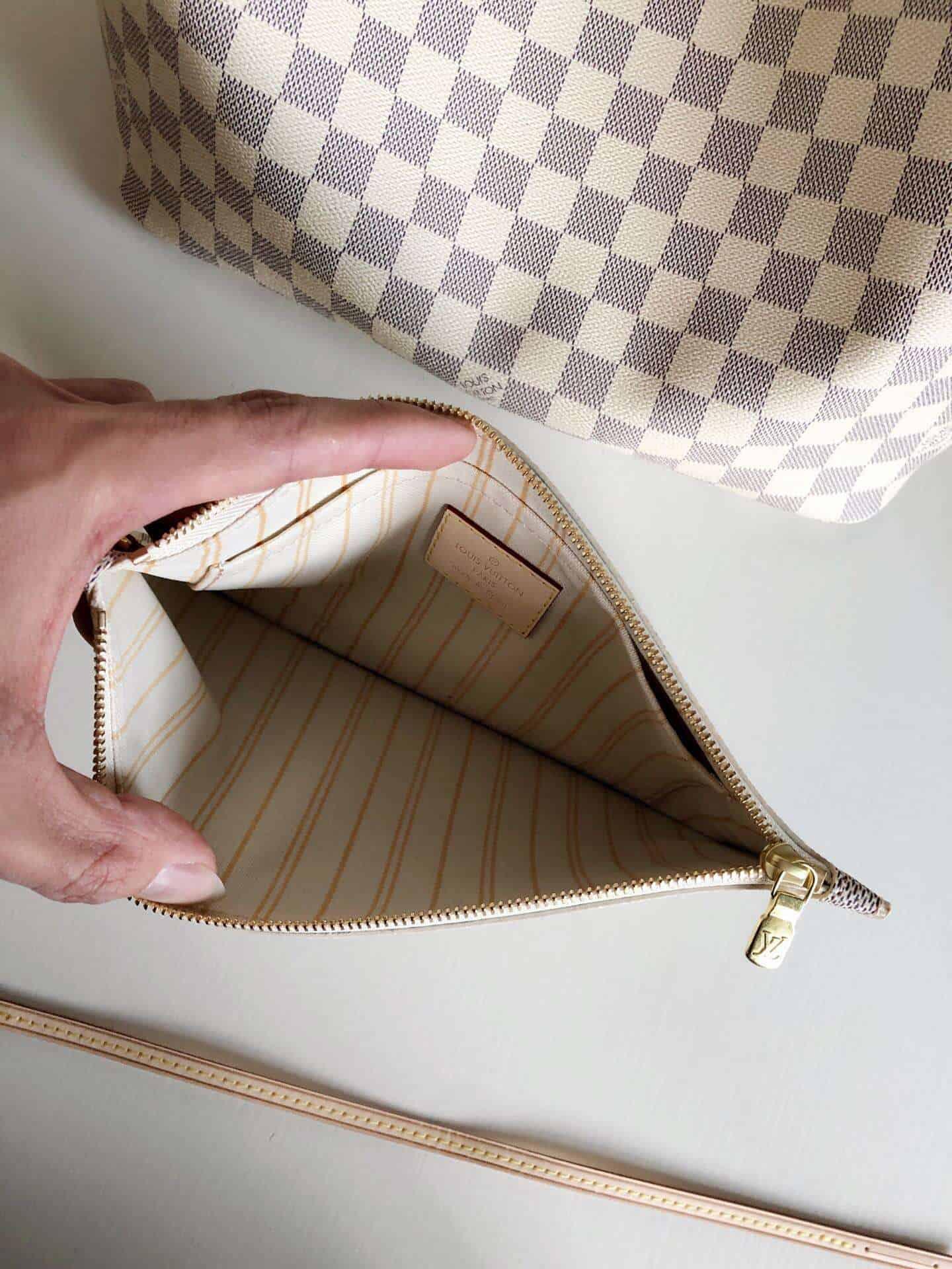 LV NEVERFULL 中号手袋棋盘白格购物袋 N41361 米白色内里