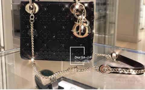 Dior/迪奥 Lady Mini 限量版 墨绿水晶牛皮珠绣戴妃包