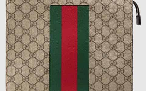 Gucci/古驰 饰条纹织带帆布手拿包 475316 KHN4N 9791