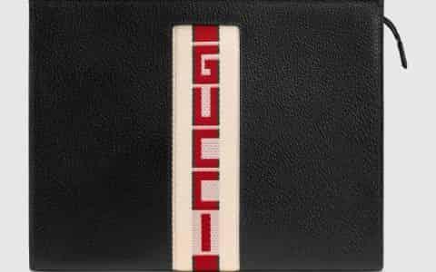 Gucci/古驰 提花条纹皮革手拿包 475316 CWGSN 1094