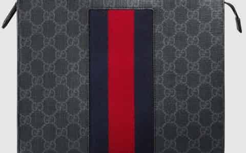 Gucci/古驰 饰条纹织带高级人造帆布手拿包 475316 KHN4C 1095