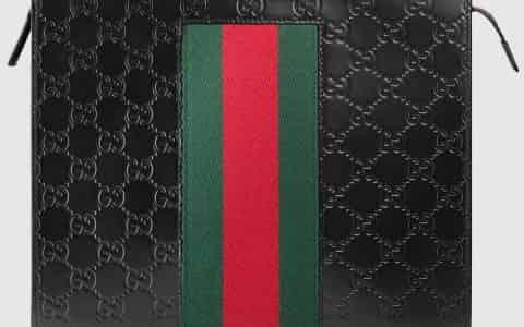 Gucci/古驰 饰条纹织带Signature皮革手拿包 475316 CWCLN 1060