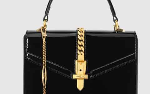 Gucci/古驰 Sylvie 1969系列漆皮迷你手提包 589479 1J70G 1000