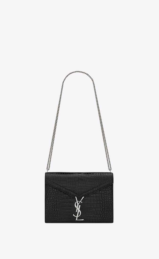 YSL CASSANDRA字母标志鳄鱼纹闪亮真皮CLASP包 532750