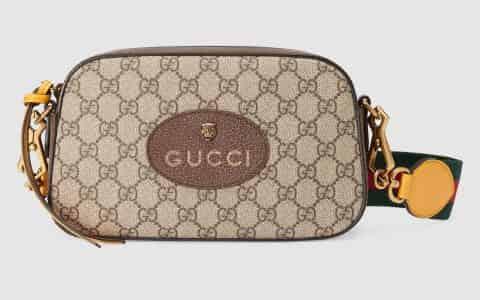 Gucci/古驰 复古风格织带条纹邮差包 476466 K9GVT 8856