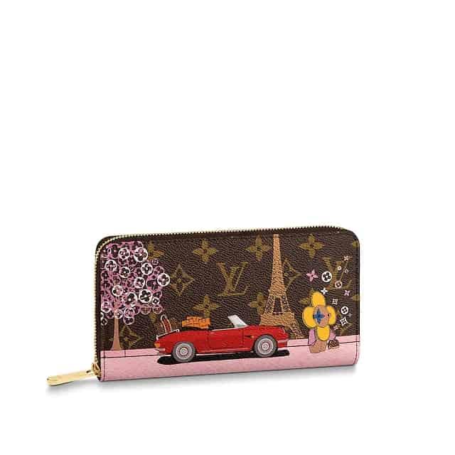 LV 圣诞款埃菲尔铁塔粉色长款ZIPPY拉链钱夹 M68487