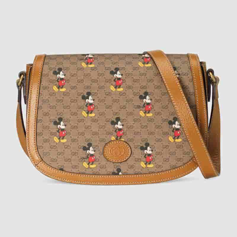 Gucci Disney迪士尼米老鼠印花翻盖单肩斜挎马鞍包 602694
