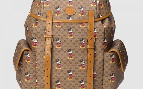 Gucci Disney迪士尼米老鼠印花图案帆布背包双肩包 603898