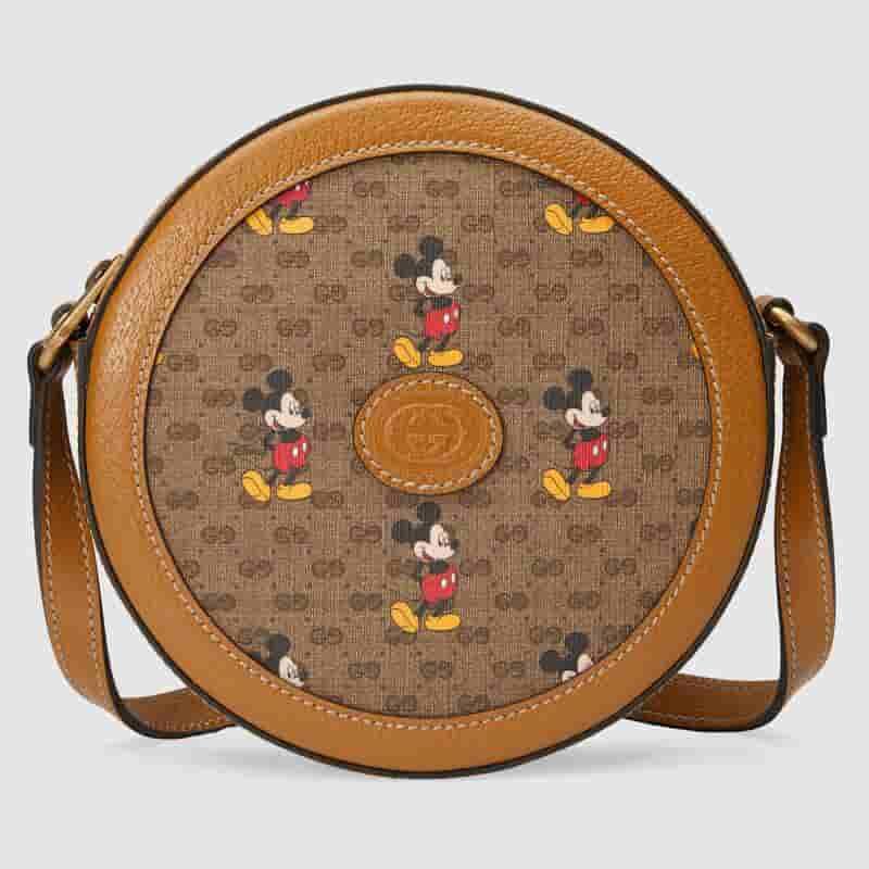 Gucci Disney迪士尼米老鼠印花圆形肩背包斜挎小圆包 603938