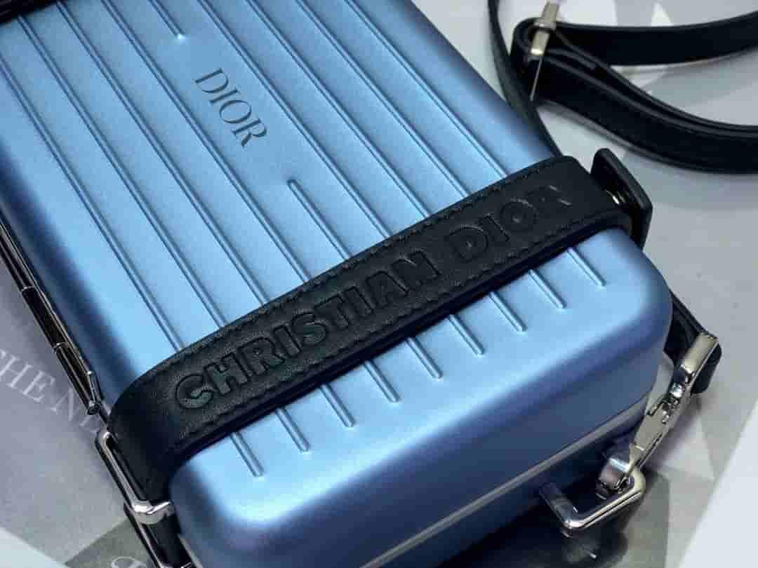 Dior/迪奥 Rimowa联名 蓝色铝镁合金小箱子迷你行李箱斜挎包
