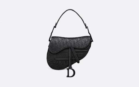 Dior/迪奥 OBLIQUE 印花/刺绣图案黑色凹印光滑牛皮革马鞍包