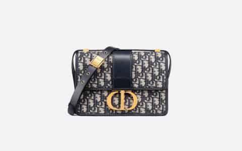 Dior 30 Montaigne Oblique蓝色提花帆布翻盖式手袋 M9203