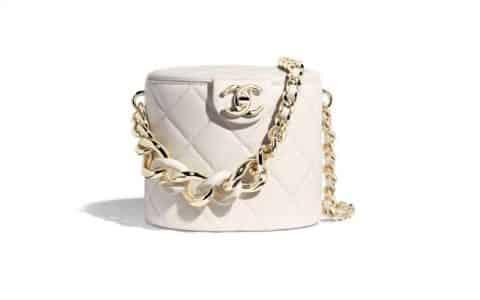 Chanel/香奈儿 2020新款小羊皮菱格圆桶化妆包 AS1355