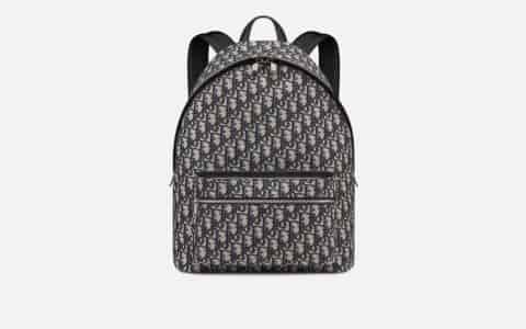 Dior/迪奥 Oblique帆布配牛皮革双肩背包 1VOBA088YKY_H28E
