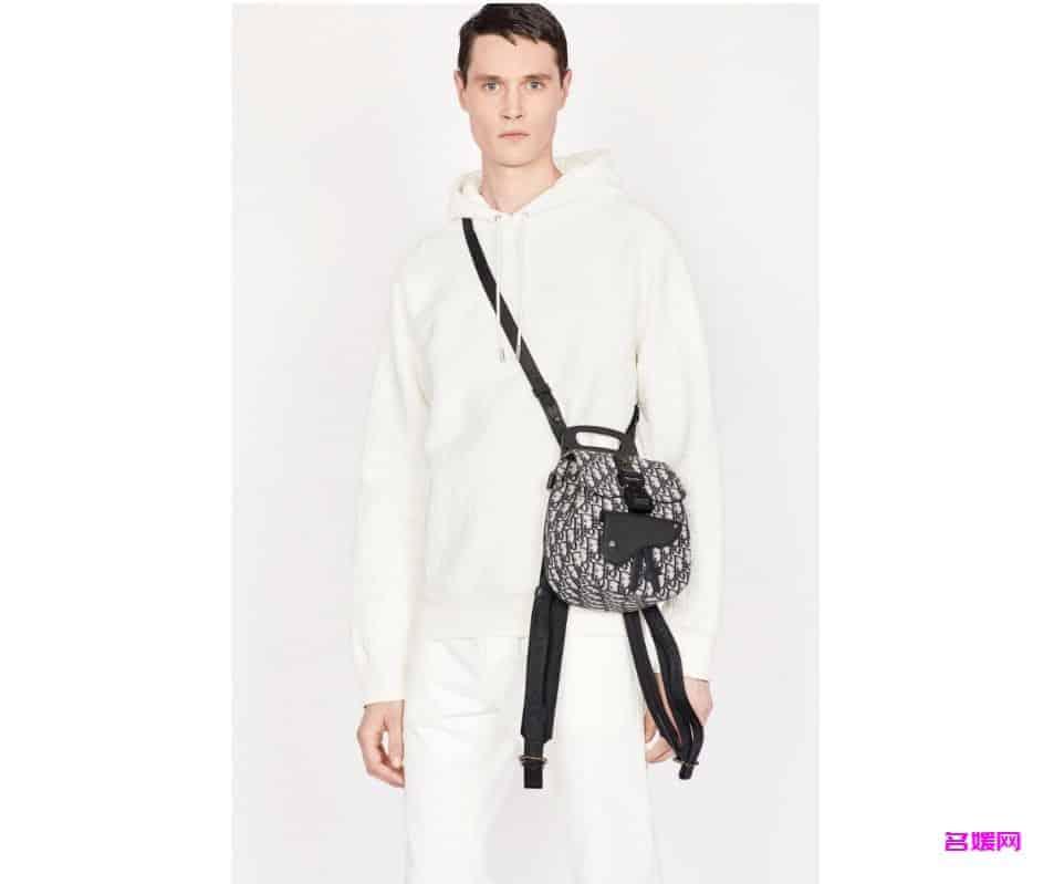 Dior/迪奥 Oblique海军蓝提花迷你马鞍包双肩背包 1ADBA086