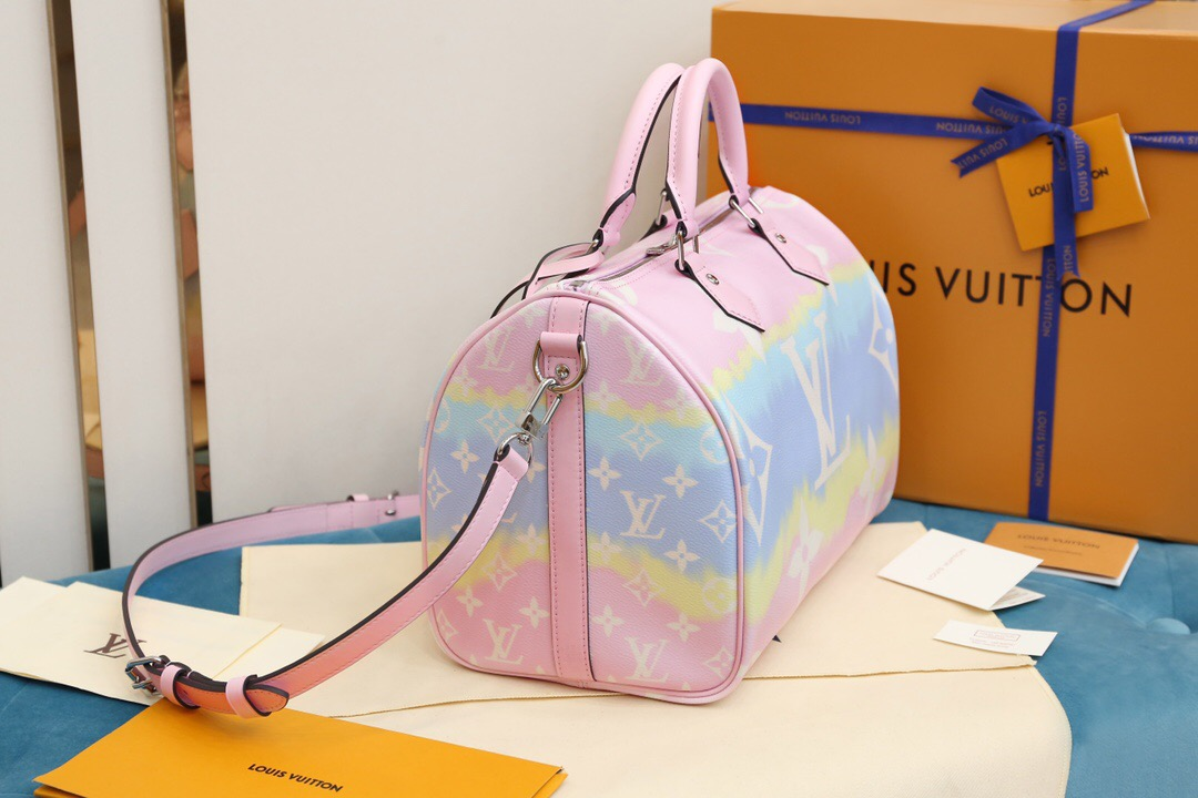 LV M45123 2020夏季扎染系列 Speedy 30 彩虹粉色手提枕头包