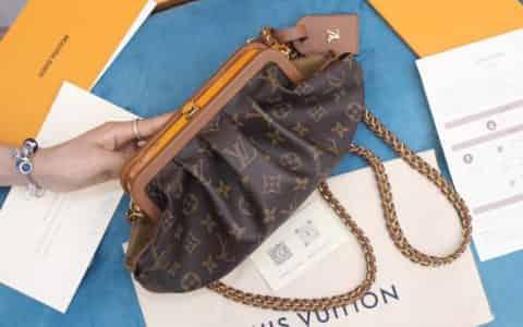 Louis Vuitton LV Boursicot 链条拼色斜挎云朵包 M45229