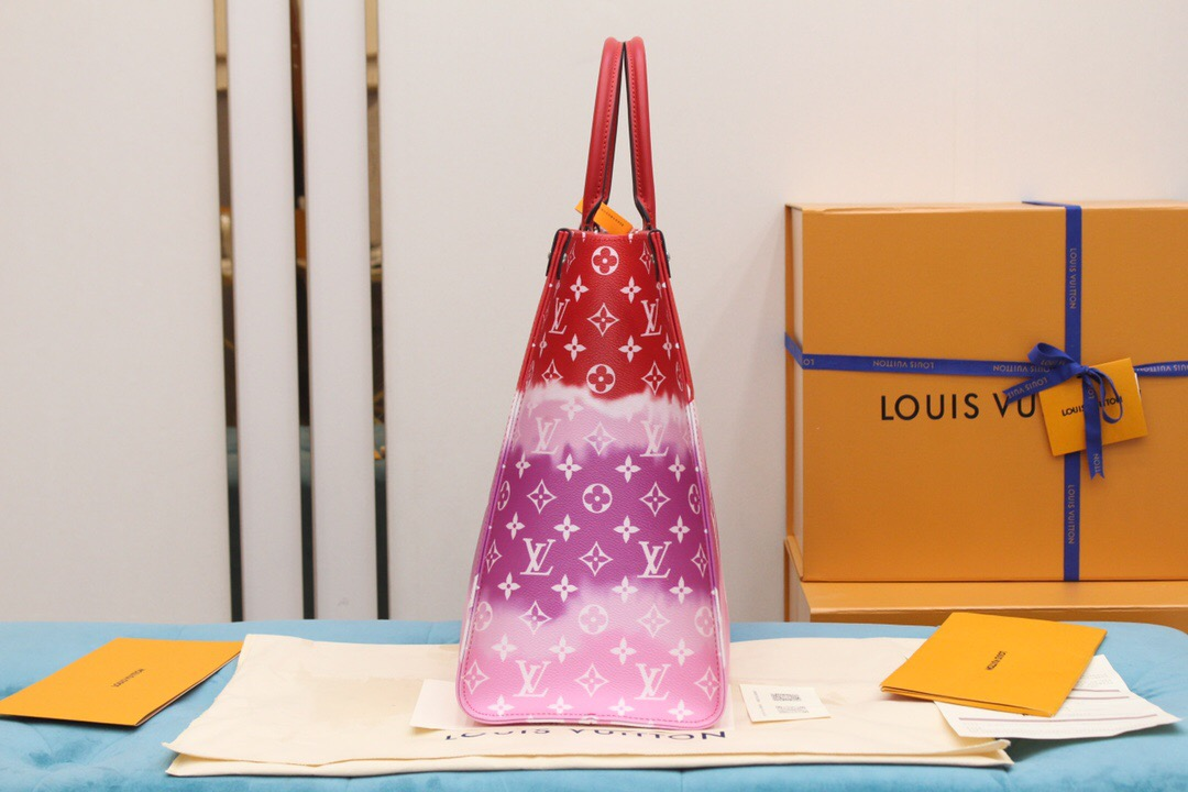 LV M45121 2020夏季扎染系列ONTHEGO红色托特手提购物袋