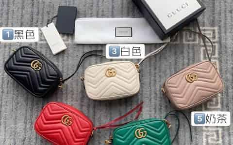 Gucci 双G迷你Marmont绗缝链条古驰斜挎相机包 448065
