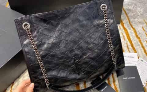 【原厂皮】YSL NIKI 中号复古褶皱真皮购物袋 577999